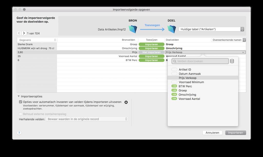 Velden importeren in FileMaker 18