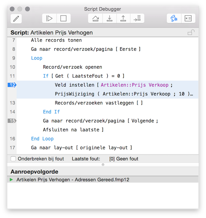 Scriptdebugging in FileMaker.